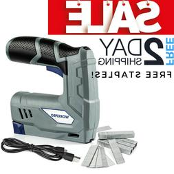Electric Cordless Staple Nail Gun Heavy Duty Battery Operate