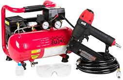 3PLUS HCB050401 18-Gauge Brad Nailer and Quiet Air Compresso