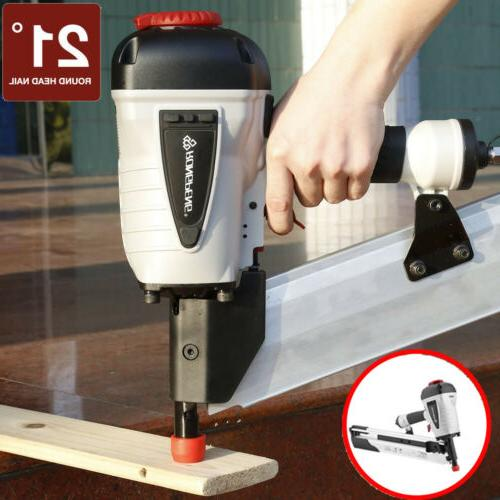 21 Degree Pneumatic Round Head Nailer Gun Power Tool USA