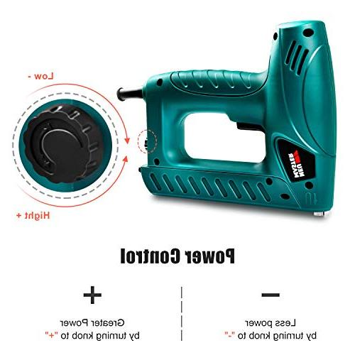 Electric Nailer, MASTER N6013 with Contact Safety and Power Knob for Upholstery and Home Includes 400pcs 100pcs Nails
