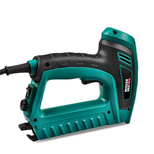 Electric Brad Nailer, MASTER Staple with Contact Safety Power Adjustable Knob for Upholstery Includes Staples 100pcs Nails