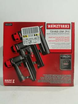 Craftsman 3 pc Nail Gun Kit 951109 Crown Stapler, Brad Naile
